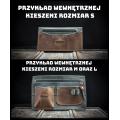 Kuferek  z kopertówką od polskich projektantów ręcznie wykonany ciemny brąz i pomarańczowe szelki