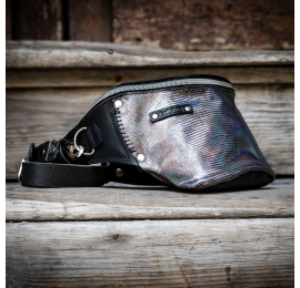Unique leather fanny pack in Black color with front part made out of original shiny leather