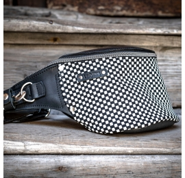 Leather fanny pack in Black and White with unique checkered pattern on the front