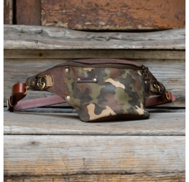Leather fanny pack in Brown color with camo elements and comfortable back pocket