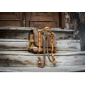 Original oldschool leather backpack in Brown color with comortable pocket on the back and long strap