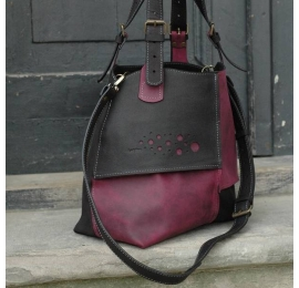 Natural leather handmade Bag Alicja two colors black and  claret.