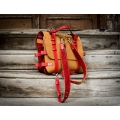 Leather backpack in flashy Camel color with beautiful Red accents handmade by Ladybuq Art