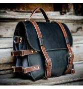 Stylowy Czarny plecak z naturalnej skóry z akcentami w kolorze Brązowym, świetny prezent dla niego lub dla niej