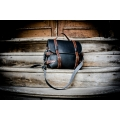 Stylish Black backpack made out of natural leather with accents in Brown color, great gift for him or for her