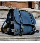 Skórzany plecak podróżny w kolorze Granatowym z Czarnymi akcentami i wygodną przegrodą wewnątrz od Ladybuq