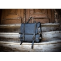 Leather travel backpack in Navy Blue color with Black accents and comfortable divider inside made by Ladybuq