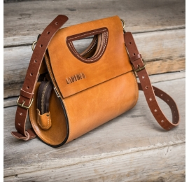 Leather The Tear purse in three sizes made by Ladybuq, handmade bag in Camel color