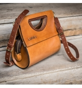 leather purse in camel color with brown crossbody strap made by Ladybuq