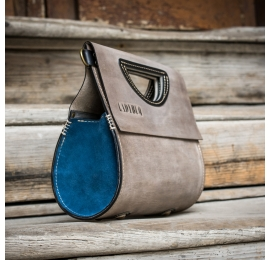 Handmade purse with shoulder strap, The Tear in Grey color with sides made out of suede in Blue color