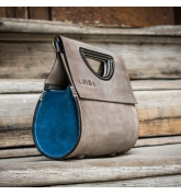 handmade the tear purse in grey and blue colors made by ladybuq