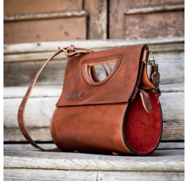 Handmade natural leather purse The Tear in Ginger color with Red suede sides