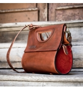 handmade purse out of high quality leather in ginger and red colors
