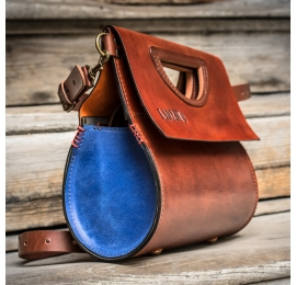 Women leather purse The Tear made out of natural leather in Ginger and Sapphire colors made by Ladybuq Art