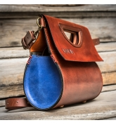 stylish leather purse the tear in ginger and sapphire colors made by ladybuq