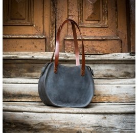 bag made out of natural matte leather in grey color made by ladybuq