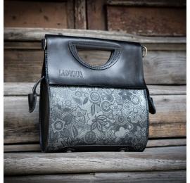 jedyna w swoim rodzaju torebka z wyjątkowym wzorem w kolorze srebrnym, ręcznie wykonana skórzana torebka