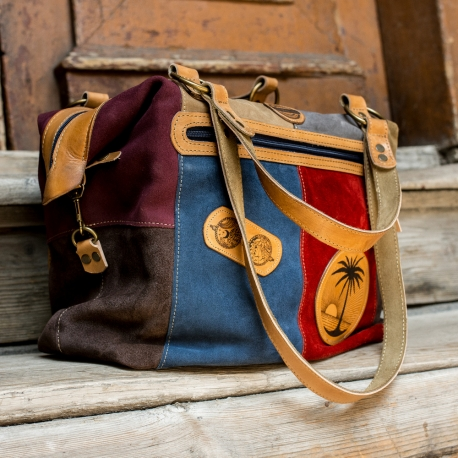 colorful summer bag with unique engraved elements