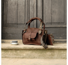Natural leather bag Kuferek SMALLER SIZE with a pocket, a strap and a clutch, dark brown, grey made by Ladybuq Art