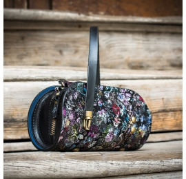 small black leather purse with unique pattern, made by hand by ladybuq art