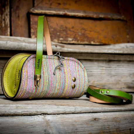 limited collection purse with colorful stripes, small purse with lime colored accents