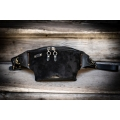 Original suede fanny pack in black color, handmade by Ladybuq
