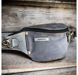 grey fanny pack made by ladybuq available in three sizes