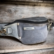Grey leather fanny pack made by Ladybuq, handmade hip bag