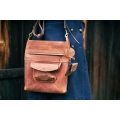 Original leather purse made by Ladybuq in Ginger color with long shoulder strap and small cards wallet