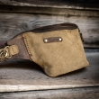 Handmade leather fanny pack made out of natural leather in Khaki and Brown colors