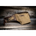original leather fanny pack in brown and khaki colors made by ladybuq