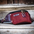 small hip bag in plum and claret color variation made by ladybuq