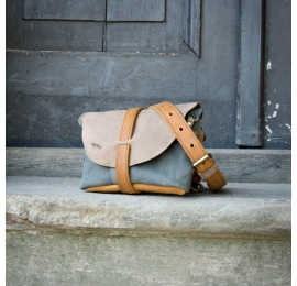 Fanny pack / cross body leather bag size  M gray, beige and whiskey color