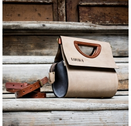 Leather women's handbag The Tear in Beige color from Ladybuq, handcrafted handbag with crossbody strap