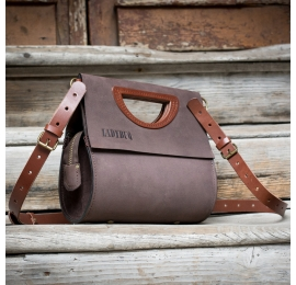 Brown women purse made by hand out of natural leather, comfortable purse made by Ladybuq Art
