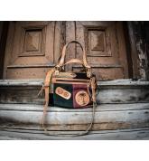 women bag with long crossbody strap, handmade suede bag