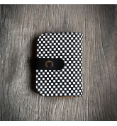 Leather wallet with a original chessboard pattern made by Ladybuq Art