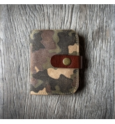 Leather wallet with a original camo pattern made by Ladybuq Art