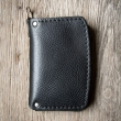 Small black Havana leather wallet with pleace for small items made by Ladybuq Art