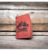 Small red Havana leather wallet with pleace for small items made by Ladybuq Art