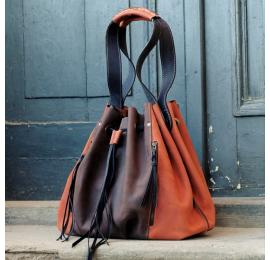Marlena ciemny brąz/ pomarańczowy duża torba na zakupy w pięknych kolorach od ladybuq art studio