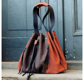 Marlena dark brown and orange perfect shopping bag handmade natural leather bag made by Ladybuq Art Studio