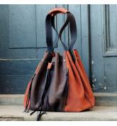 Marlena dunkelbraun / orange einzigartige handgefertigte Einkaufstasche aus Naturleder von ladybuq art