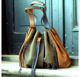 Marlena in khaki and whiskey colours handmade natural leather Ladybuq original bag