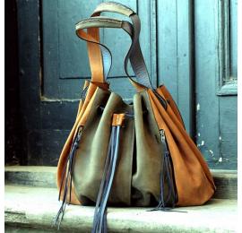 torebka marlena w kolorach khaki/whiskey z naturalnej skóry unikalna torba na zakupy od ladybuq art