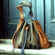 Marlena khaki/ whiskey coloured natural leather unique shopping bag made by ladybuq art