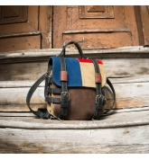 Stylish backpack made out of natural leather with colorful accents great gift for him or for her