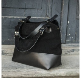 Leather bag Alicja in black color
