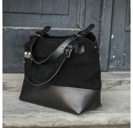 Leather bag Alicja in black color