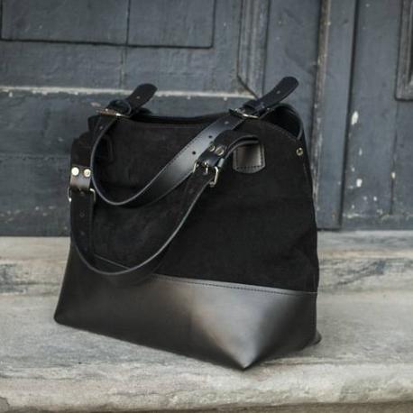 Handmade natural Leather designer bag Alicja color black.